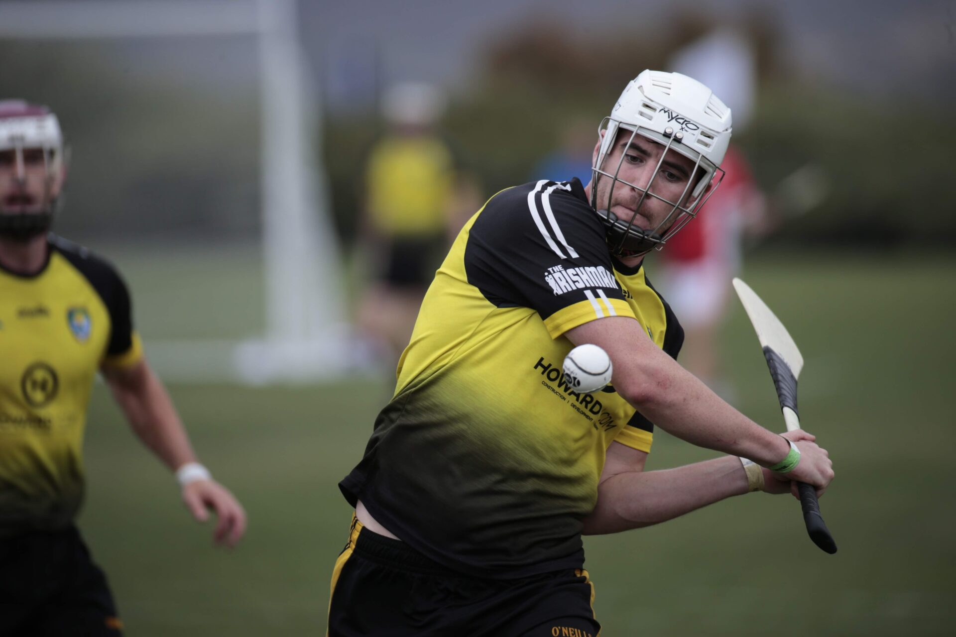 California's OC Wild Geese hurling player striking a sliotar at the West Coast Sevens tournament in 2019.